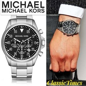 **NEW** Michael Kors Men's Gage Silver-Tone Watch
